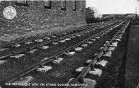 LNWR Over & Wharton, Winsford station - bullhead rail on stone blocks  [LNWR bullhead rail_fishbelly stone blocks 2.jpg uploaded 15 Apr 2016]